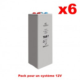 Pack de 12V Batteries solaire OPZV 6 x 2V/1490 Ah GEL Long Life